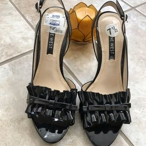 Nine West black  open toed heels size 7 1/2 NWT